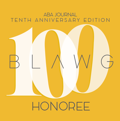 Pleased to be an ABA Journal Top 100 Blog for the 2nd Straight Year